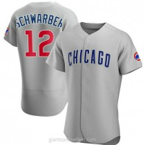 Mens Kyle Schwarber Chicago Cubs #12 Authentic Gray Road A592 Jersey