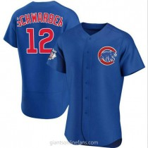Mens Kyle Schwarber Chicago Cubs #12 Authentic Royal Alternate A592 Jerseys