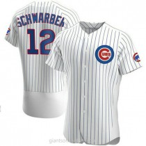 Mens Kyle Schwarber Chicago Cubs #12 Authentic White Home A592 Jerseys
