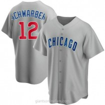 Mens Kyle Schwarber Chicago Cubs #12 Replica Gray Road A592 Jerseys