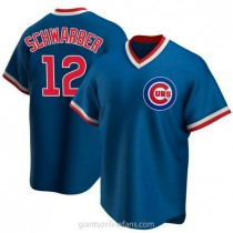 Mens Kyle Schwarber Chicago Cubs #12 Replica Royal Road Cooperstown Collection A592 Jerseys