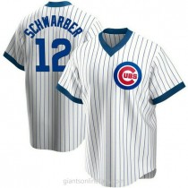 Mens Kyle Schwarber Chicago Cubs #12 Replica White Home Cooperstown Collection A592 Jerseys