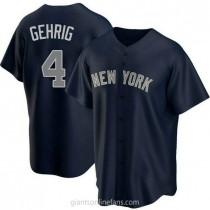 Mens Lou Gehrig New York Yankees #4 Replica Navy Alternate A592 Jersey
