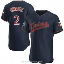 Mens Luis Arraez Minnesota Twins #2 Authentic Navy Alternate 60th Season Team A592 Jerseys