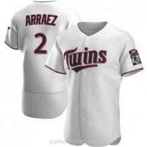 Mens Luis Arraez Minnesota Twins #2 Authentic White Home A592 Jersey