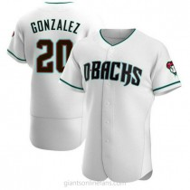 Mens Luis Gonzalez Arizona Diamondbacks #20 Authentic White Teal Alternate A592 Jersey