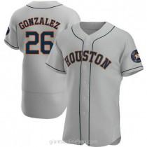 Mens Luis Gonzalez Houston Astros #26 Authentic Gray Road A592 Jersey