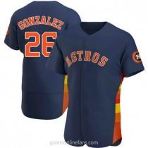 Mens Luis Gonzalez Houston Astros #26 Authentic Navy Alternate A592 Jersey