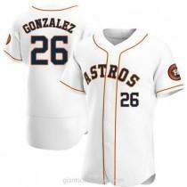 Mens Luis Gonzalez Houston Astros #26 Authentic White Home A592 Jersey