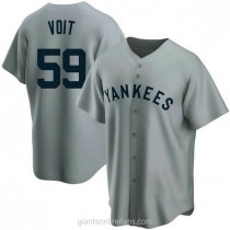 Mens Luke Voit New York Yankees #59 Replica Gray Road Cooperstown Collection A592 Jerseys
