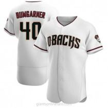 Mens Madison Bumgarner Arizona Diamondbacks #40 Authentic White Crimson Home A592 Jersey