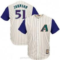 Mens Majestic Randy Johnson Arizona Diamondbacks #51 Authentic Cream Cooperstown Throwback Mlb A592 Jersey