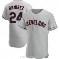 Mens Manny Ramirez Cleveland Indians #24 Authentic Gray Road A592 Jerseys