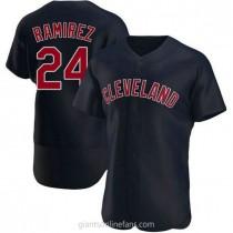 Mens Manny Ramirez Cleveland Indians #24 Authentic Navy Alternate A592 Jerseys