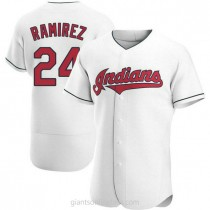 Mens Manny Ramirez Cleveland Indians #24 Authentic White Home A592 Jersey