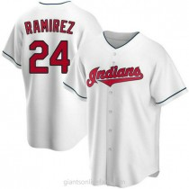 Mens Manny Ramirez Cleveland Indians #24 Replica White Home A592 Jerseys