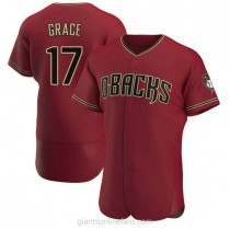 Mens Mark Grace Arizona Diamondbacks #17 Authentic Crimson Alternate A592 Jersey