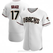 Mens Mark Grace Arizona Diamondbacks #17 Authentic White Crimson Home A592 Jerseys