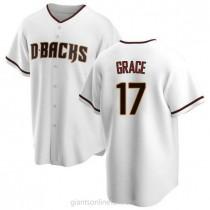 Mens Mark Grace Arizona Diamondbacks #17 Replica White Home A592 Jersey