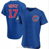 Mens Mark Grace Chicago Cubs #17 Authentic Royal Alternate A592 Jerseys