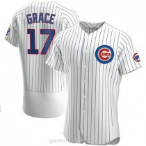 Mens Mark Grace Chicago Cubs #17 Authentic White Home A592 Jersey