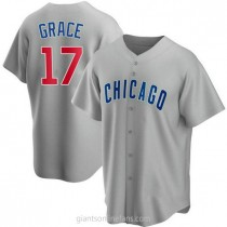 Mens Mark Grace Chicago Cubs #17 Replica Gray Road A592 Jersey