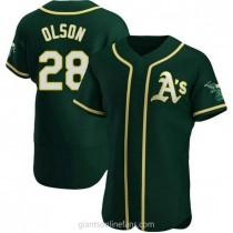 Mens Matt Olson Oakland Athletics #28 Authentic Green Alternate A592 Jerseys