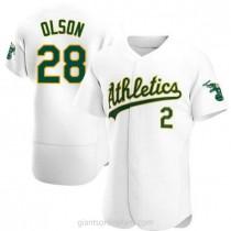 Mens Matt Olson Oakland Athletics #28 Authentic White Home A592 Jerseys