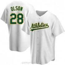 Mens Matt Olson Oakland Athletics #28 Replica White Home A592 Jersey