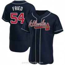 Mens Max Fried Atlanta Braves #54 Authentic Navy Alternate A592 Jerseys