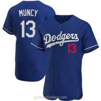Mens Max Muncy Los Angeles Dodgers #13 Authentic Royal Alternate A592 Jerseys