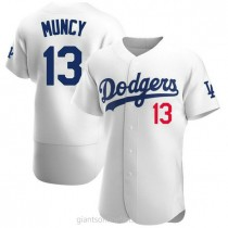 Mens Max Muncy Los Angeles Dodgers #13 Authentic White Home Official A592 Jerseys