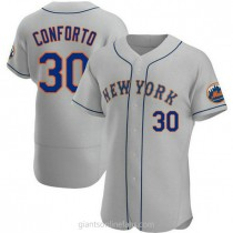 Mens Michael Conforto New York Mets #30 Authentic Gray Road A592 Jerseys