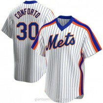 Mens Michael Conforto New York Mets #30 Replica White Home Cooperstown Collection A592 Jerseys