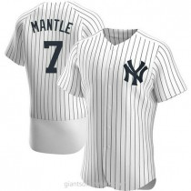 Mens Mickey Mantle New York Yankees #7 Authentic White Home A592 Jersey