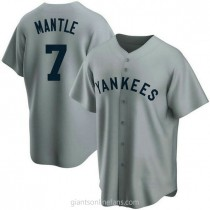 Mens Mickey Mantle New York Yankees #7 Replica Gray Road Cooperstown Collection A592 Jerseys