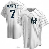 Mens Mickey Mantle New York Yankees Replica White Home A592 Jersey
