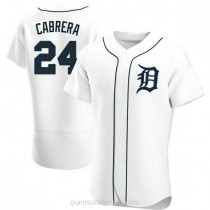 Mens Miguel Cabrera Detroit Tigers #24 Authentic White Home A592 Jerseys