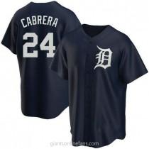 Mens Miguel Cabrera Detroit Tigers #24 Replica Navy Alternate A592 Jerseys