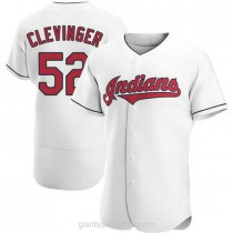 Mens Mike Clevinger Cleveland Indians #52 Authentic White Home A592 Jersey