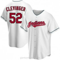 Mens Mike Clevinger Cleveland Indians #52 Replica White Home A592 Jerseys