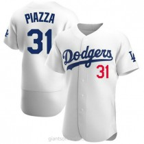 Mens Mike Piazza Los Angeles Dodgers #31 Authentic White Home Official A592 Jersey