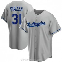 Mens Mike Piazza Los Angeles Dodgers Replica Gray Road A592 Jersey