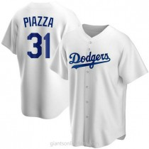 Mens Mike Piazza Los Angeles Dodgers Replica White Home A592 Jersey