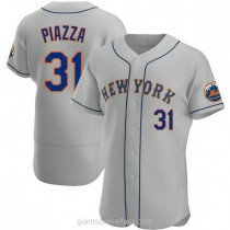 Mens Mike Piazza New York Mets #31 Authentic Gray Road A592 Jersey