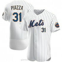 Mens Mike Piazza New York Mets #31 Authentic White Home A592 Jersey