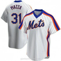Mens Mike Piazza New York Mets #31 Replica White Home Cooperstown Collection A592 Jerseys