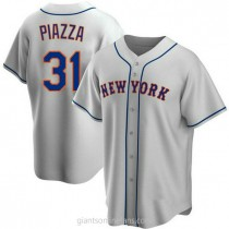 Mens Mike Piazza New York Mets Replica Gray Road A592 Jersey