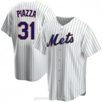 Mens Mike Piazza New York Mets Replica White Home A592 Jersey