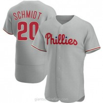 Mens Mike Schmidt Philadelphia Phillies #20 Authentic Gray Road A592 Jerseys